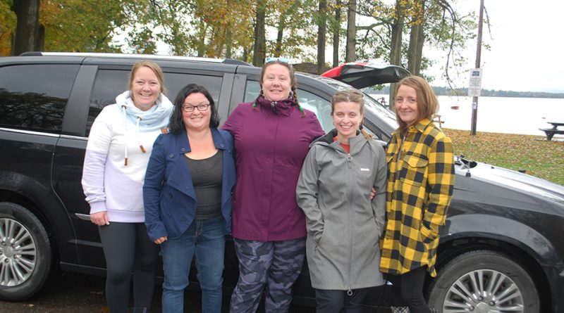Pictured from left to right are: Katie Taylor, Jen Russell, Amy Taylor, Jen Rusenstrom and Kari Richardson, who were the first participants out of the gate at the Bristol car rally and scavenger hunt .